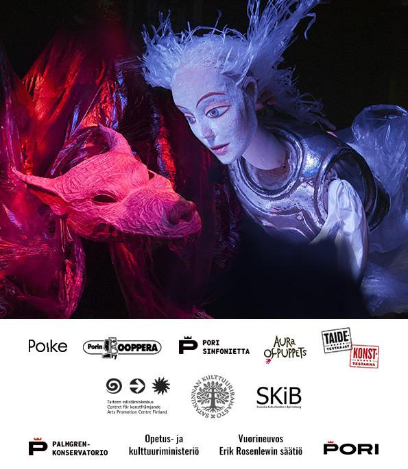 Croak Puppet Theatre Opera by Maria Kallionpää & Markku Klami. Puppet Designer: Viktor Antonov, Director Anna Ivanova-Brashinskaya. Produced by: Poike & Pori Opera. Photo: Kari Vainio 2017. Graphic design: Teppo Jäntti / Kallo Works.
